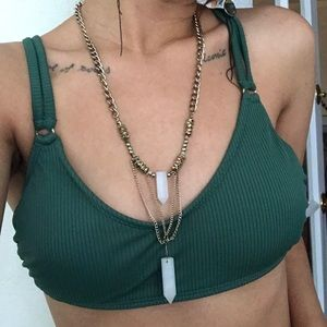 Teal Ribbed Swimsuit top (necklace available too)
